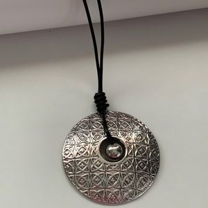 Corded Large Silver Tone Disc Necklace